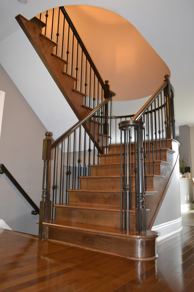 Durowood Flooring – Maple hardwood stairs and wrought iron spindles