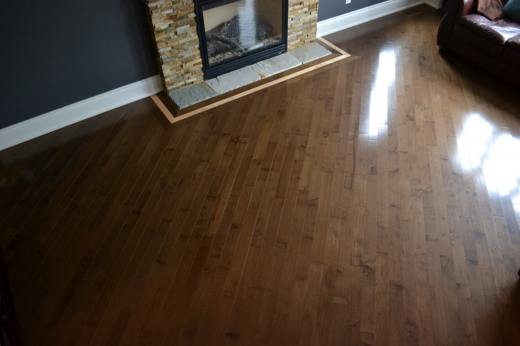 Durowood Flooring – Installation of prefinished maple hardwood with sienna stain.
